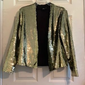 ASOS Blazer with Two-Tone Sequins - Gold- size 8